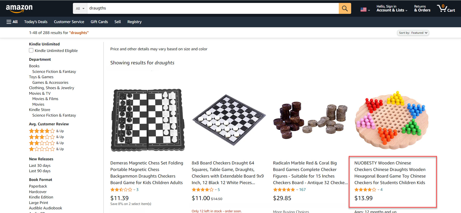 Amazon search for draughts