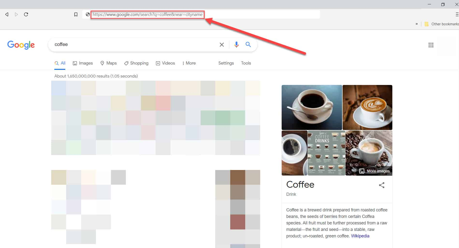 google search adding city parameter results