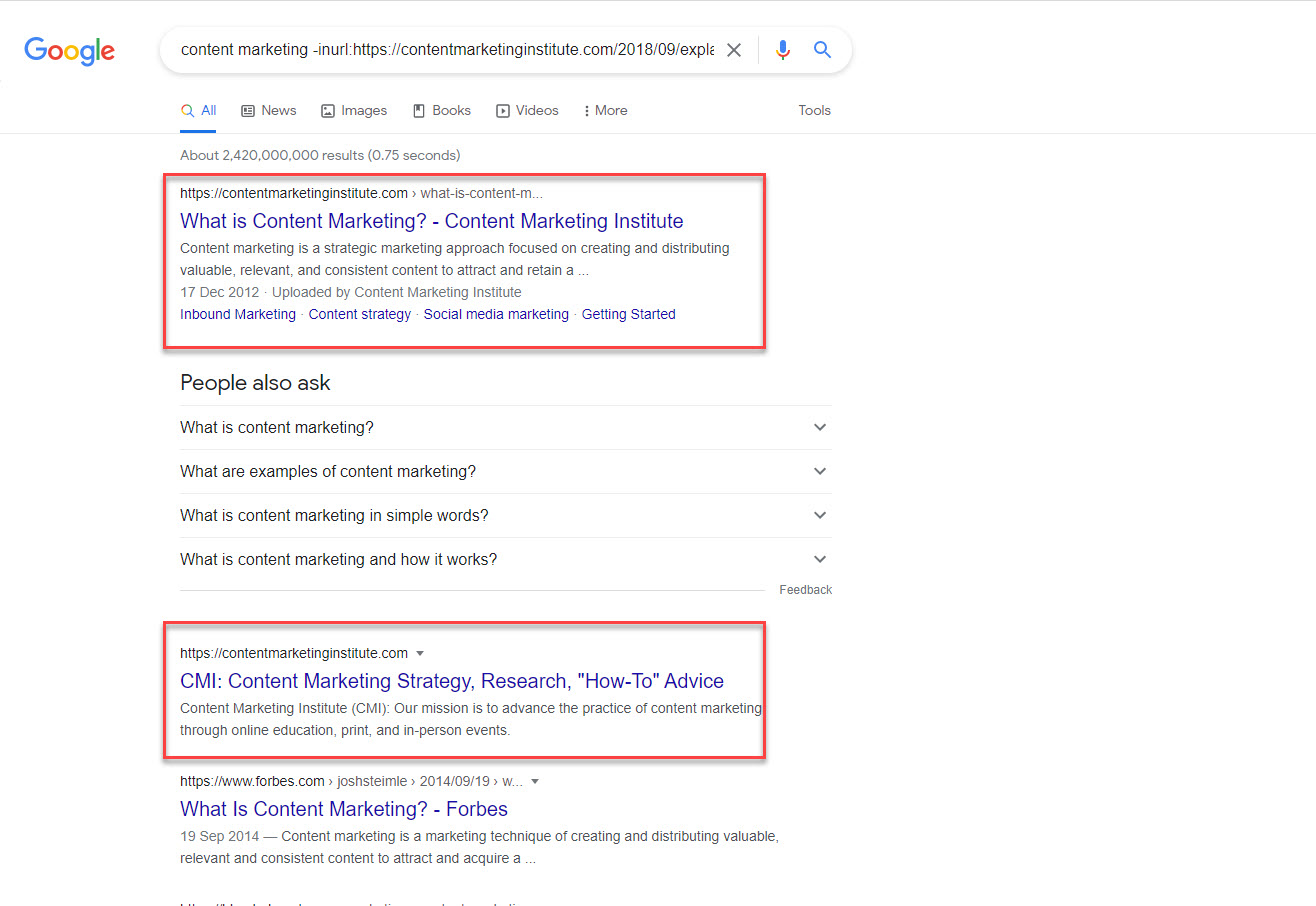content marketing exclude specific URL