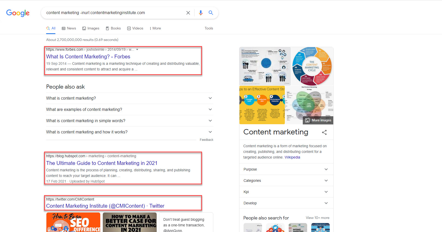 search query content marketing with exclude operator