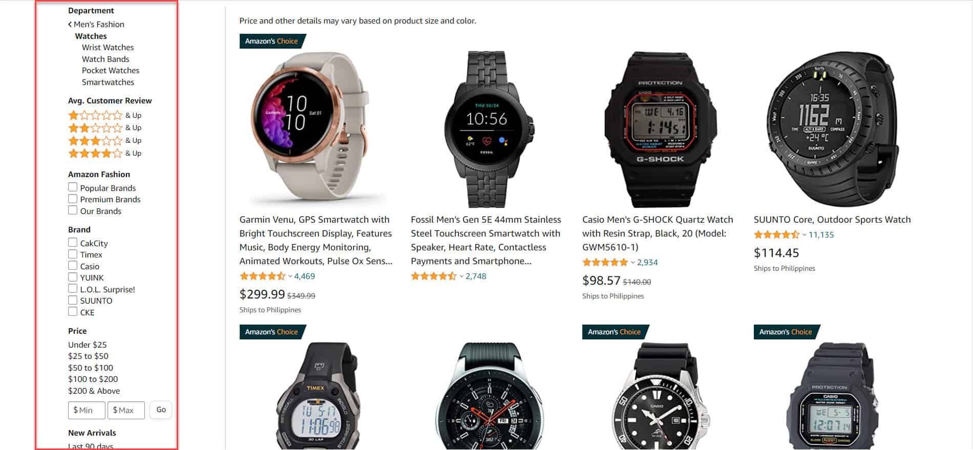 amazon faceted navigation